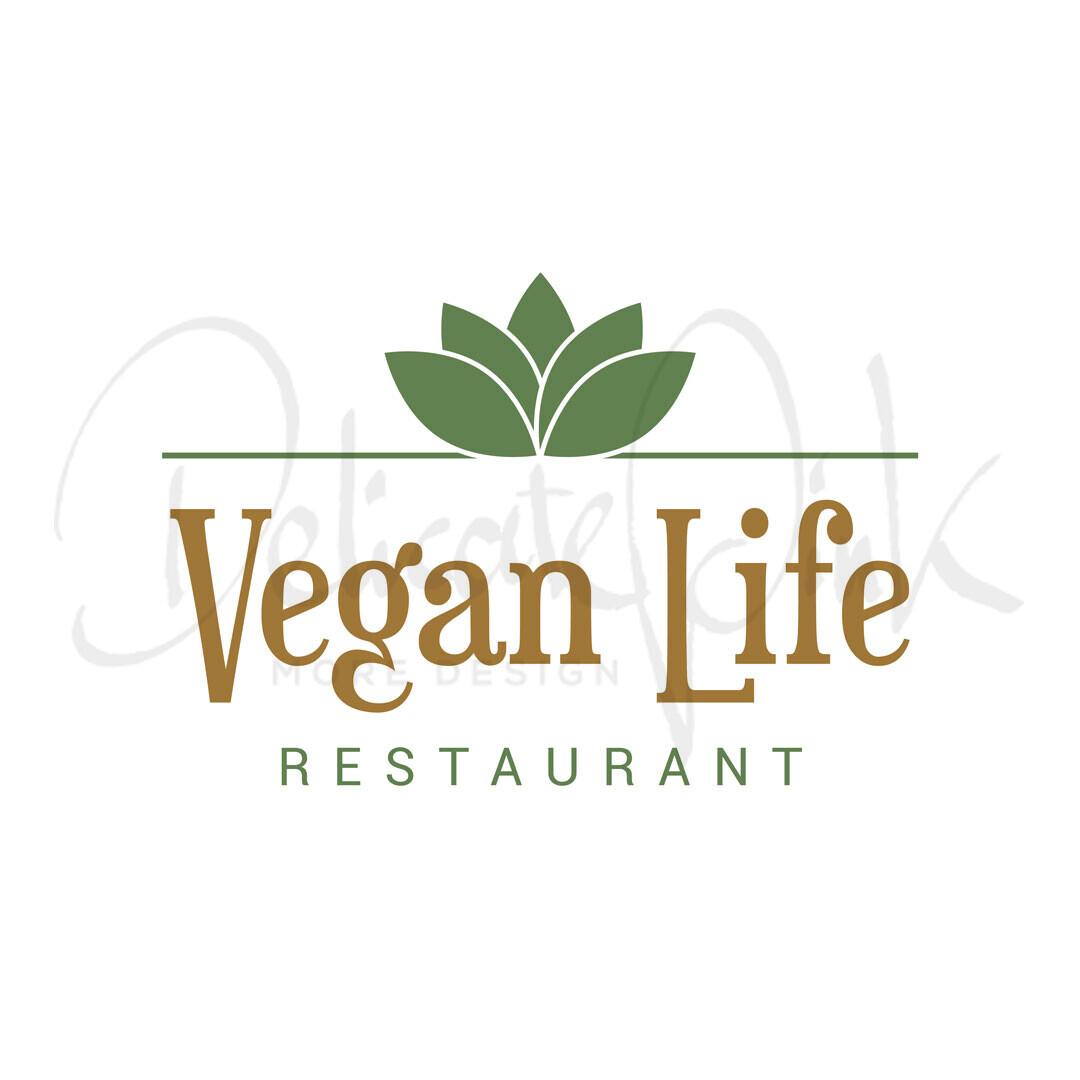 Logo für veganes Restaurant, Vegan, Restaurant, vegetarisches Restaurant, Gastronomie, Bio, veggie ,Erzeuger, organisch, raw, gesund, Ernährung, frisch, grün, Gemüse, Logo-Design, Logo-Template